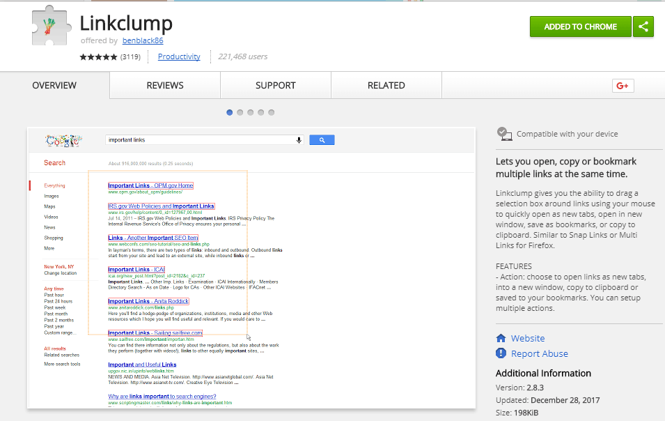 Linkclump Chrome Web Store