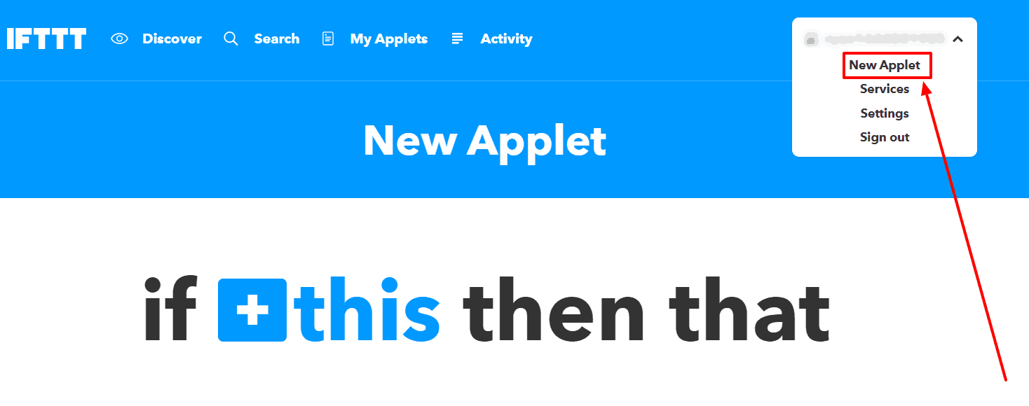 Make an Applet IFTTT