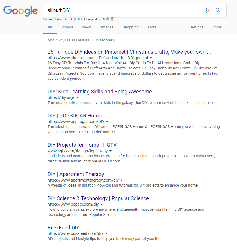 allinurl DIY Google Search