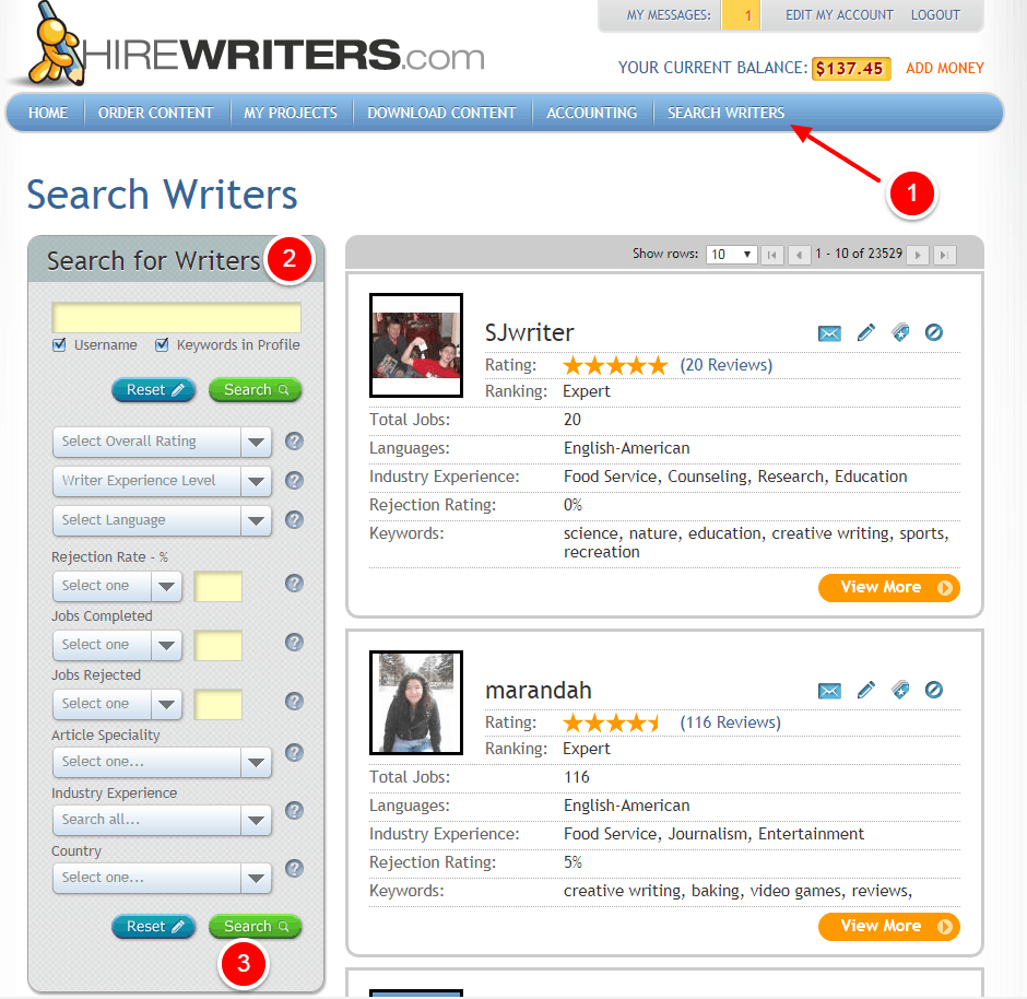 Hire Writers Search Writers