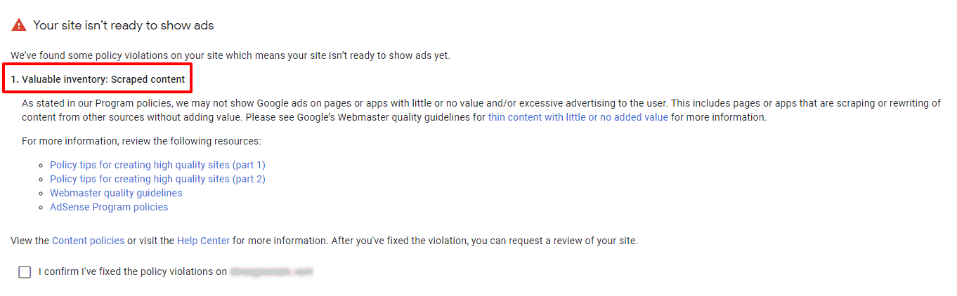 Google AdSense valuable inventory scraped content warning