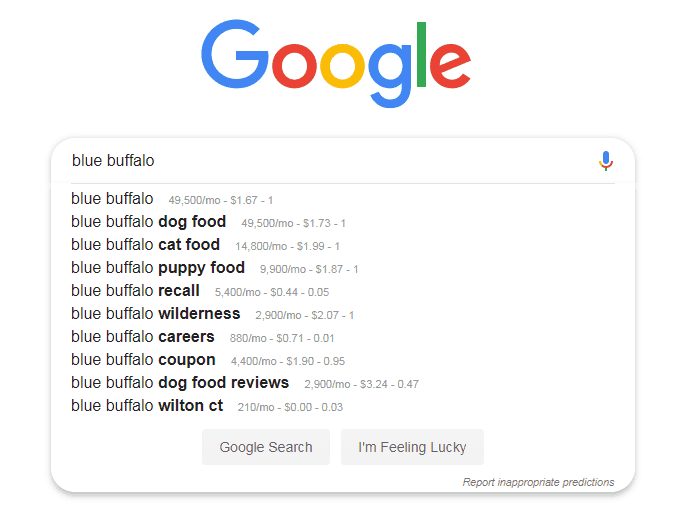 blue buffalo dog food search