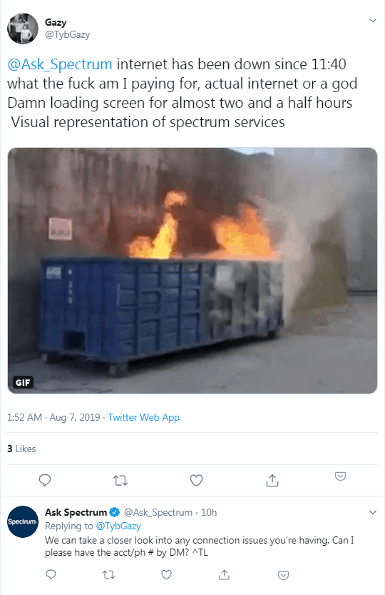 spectrum internet tweet