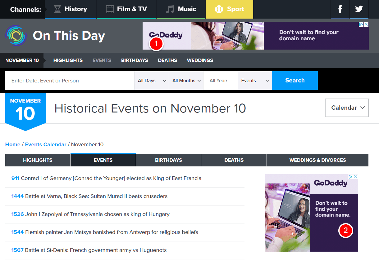 November 10 - Historical Events - On This Day