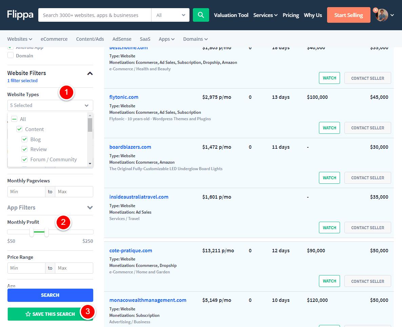 flippa custom filters save search