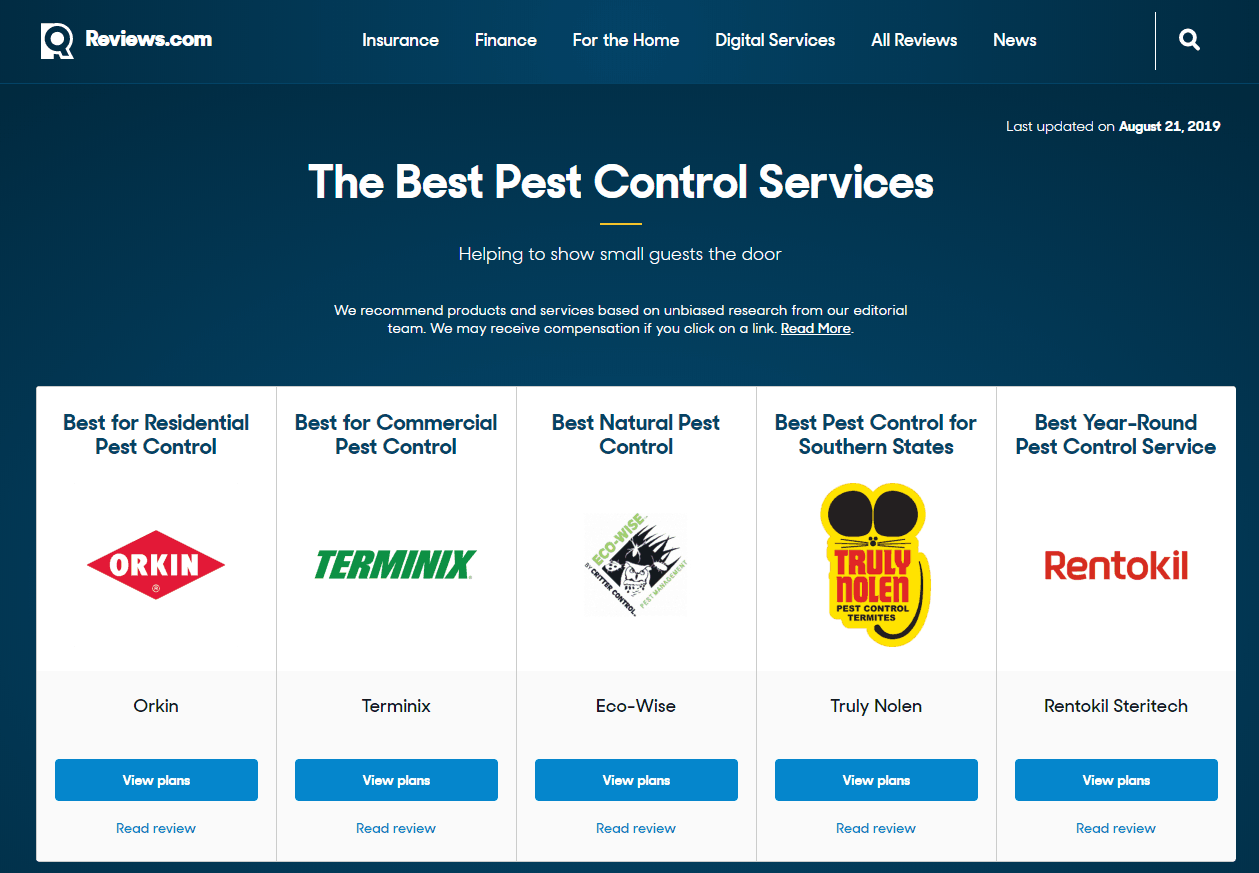 The Best Pest Control Services for 2019 Reviews com