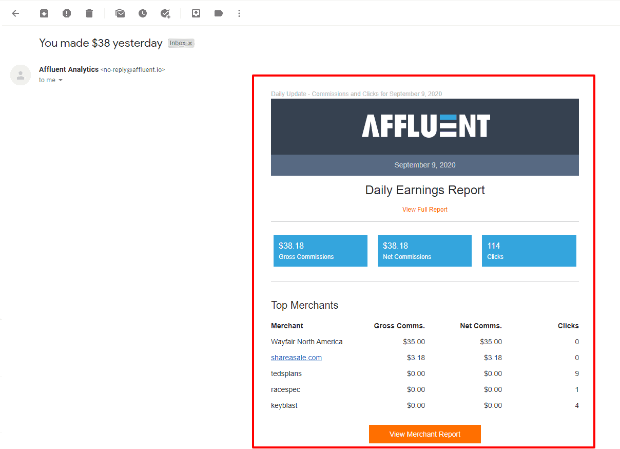affluent io email affiliate reporting