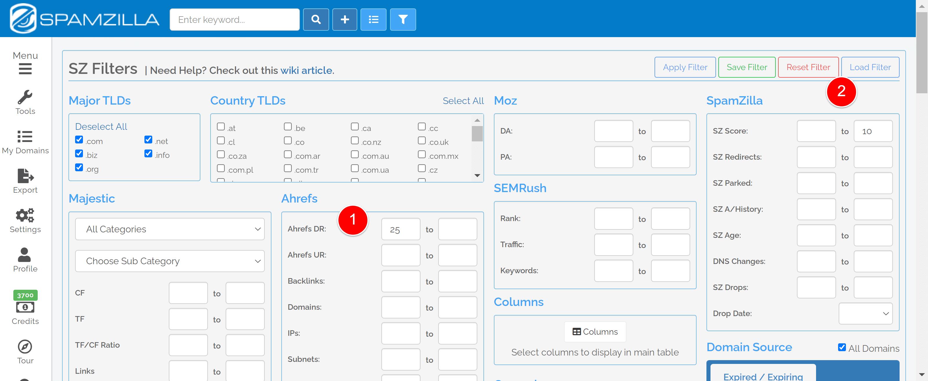 spamzilla filter example